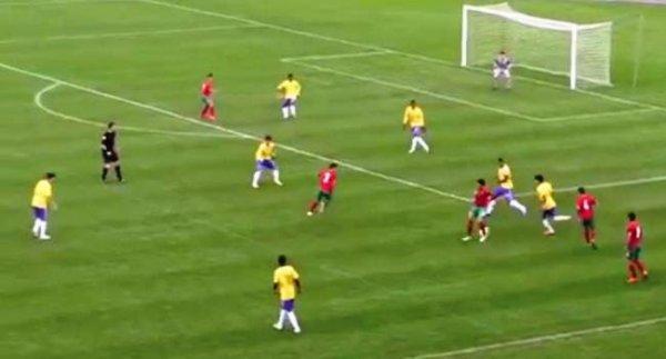 Capture d'écran du match Maroc-Brésil (1-1)